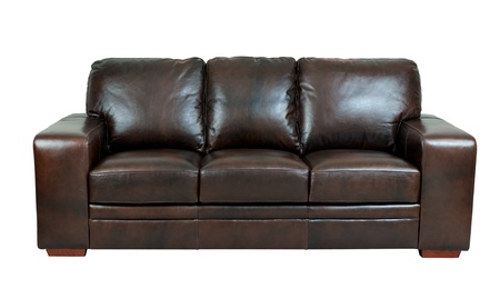 brown leather sofa: Dark brown genuine leather sofa bench isolated on white background