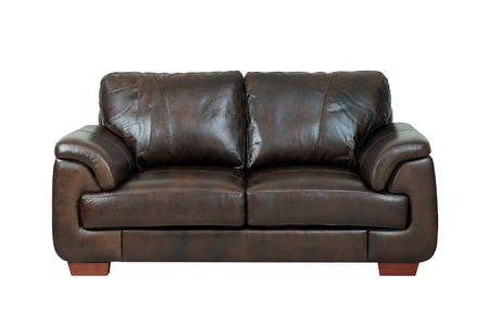 brown leather sofa: luxurious of the dark brown leather sofa bench isolated on white