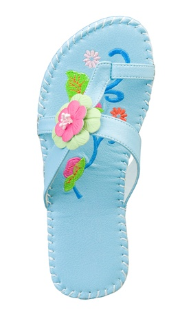 girl soles: Young girl sandal in blue color decorated with fancy pattern flowers