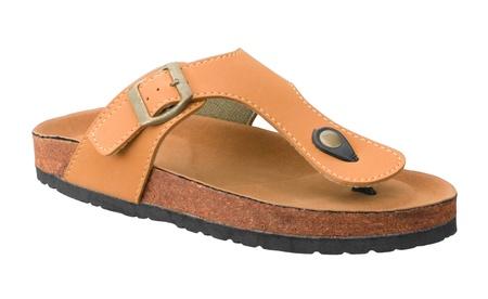bendable: Nice mens leather sandal shoe isolated on white  Stock Photo