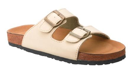 sandalias: Los hombres de cuero de sandalia zapato aislado en blanco