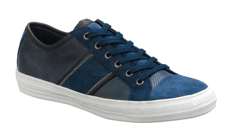 Blue casual sneaker shoe on white  photo