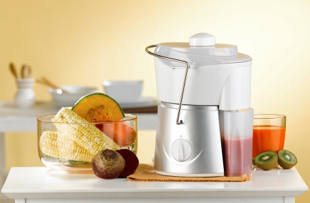 Makes variety fruits juice by maker blender machine in the kitchen  Stock Photo - 16654408