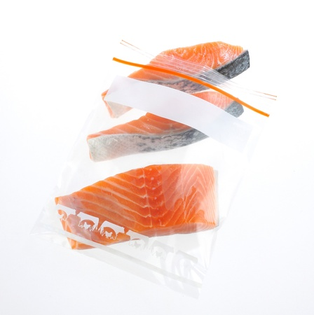 Salmon clean and preservation food for longer life in zipper bag