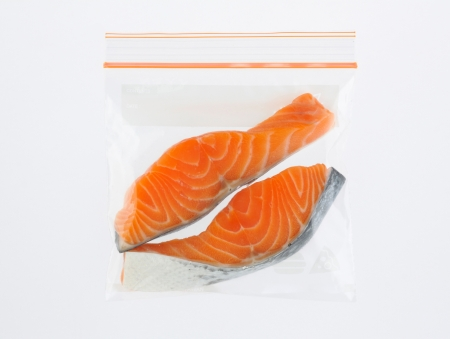 Salmon in storage safety zipper bag isolated  Stock Photo - 16654176