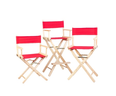 red chair: Red film director chair isolated on white  Stock Photo