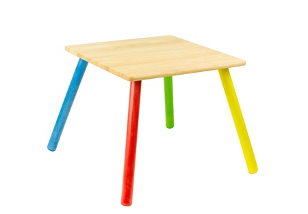 center table: colorful wooden table for little kids isolated on white background