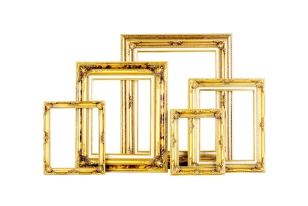 Luxury golden photo frames in different size isolated Stock Photo - 16654419