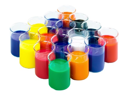 nontoxic: colors in the glass tubes in laboratory for experimental nontoxic test Stock Photo