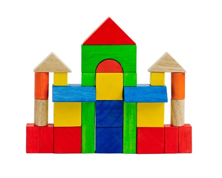 Colorful toy bricks children enjoy to build a castle or tower  photo