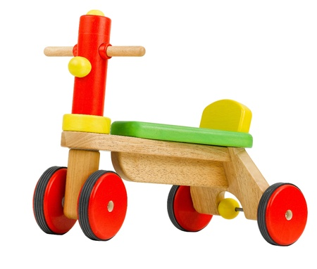 Wooden toy bicycle kids need to learn to drives  photo