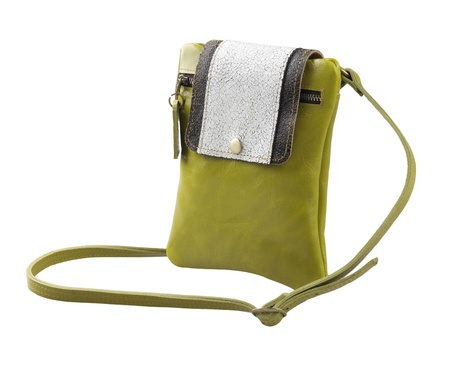 haversack: Woman leather haversack wallet bag beautiful in green color Stock Photo