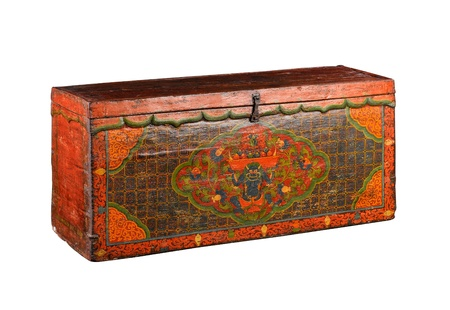 Tibetan stuff ancient box isolated on white  Stock Photo - 16782493
