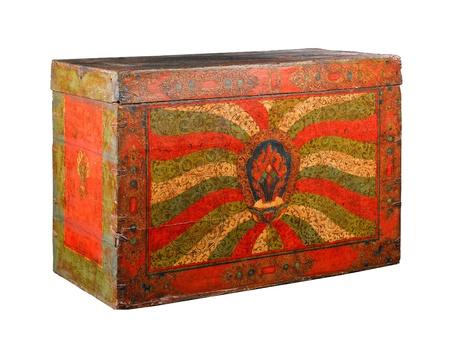Tibetan stuff ancient buddhism bible box isolated Stock Photo - 16782495