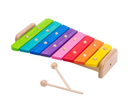 tuneful: Wooden rainbow colors xylophone toy isolated on white  Stock Photo