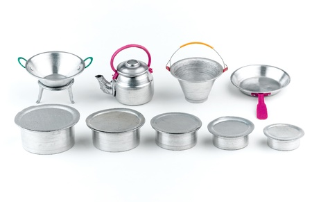 pewter mug: Minimizes size toys tin for kid isolated Stock Photo