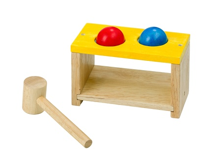 tuneful: Wooden xylophone toy with hammer isolated  Stock Photo