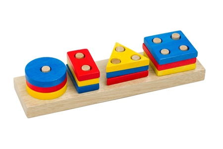 Colorful domino wooden toys isolated on white photo