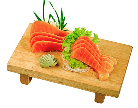 salmon sliced on the mini bench ready to serve Japanese food style Stock Photo - 16882794