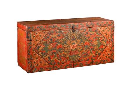 Tibetan stuff ancient box isolated on white Stock Photo - 16882830