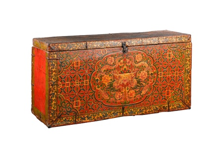 Tibetan stuff ancient treasure box isolated  photo