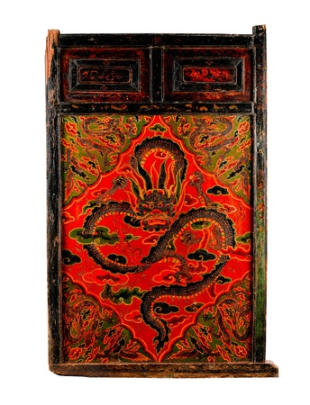 tibetan house: Tibetan ancient painting door with story about buddhism religion