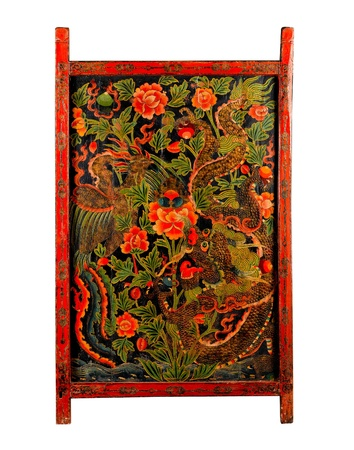 hill of tara: Tibet ancient painting door with story about buddhism religion