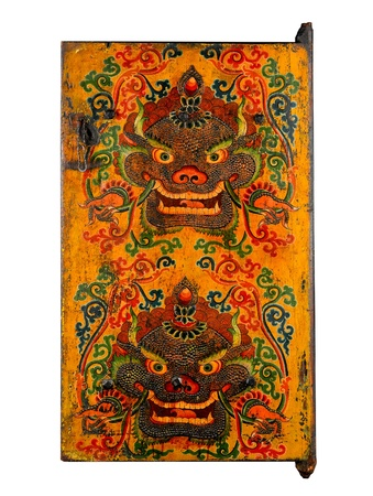 Tibetan ancient painting door story about buddhism religion photo