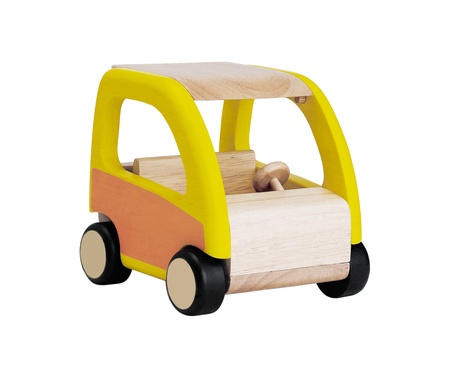 minature: Kids wooden toy car isolated on white