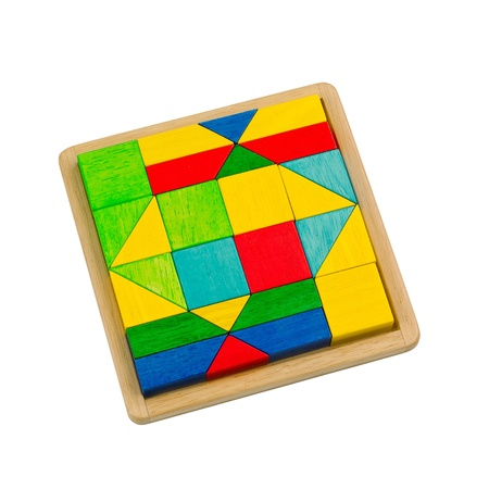 creates: Colorful wooden toy blocks arranges in the tray and ready for kid to creates Stock Photo