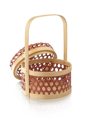 isolates: Bamboo basket isolates on white Stock Photo
