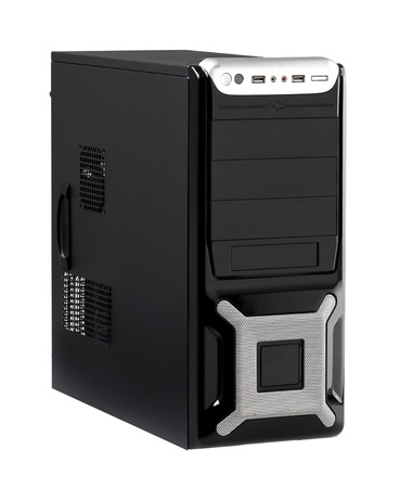 intel: The computer case with high speed CPU isolated on white