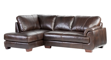 wooden furniture: Soft and comfortable luxury genuine leather bench Stock Photo