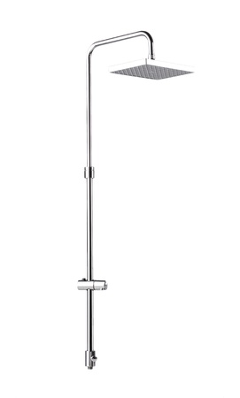 offset view: Chrome shower head wall type on white background