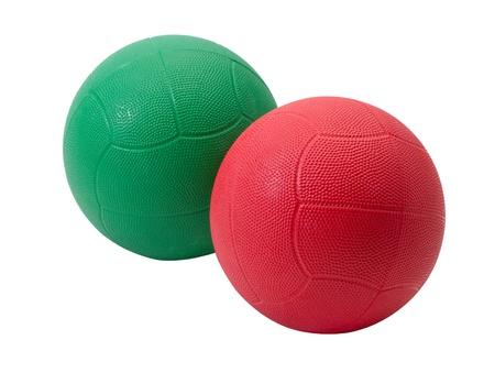 muskelaufbau: Rote und gr�ne Medizinball zum Muskelaufbau und Sport-Spiele
