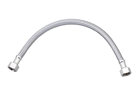 water pipe: Lavabo y taza del inodoro manguera tuber�a de agua Foto de archivo