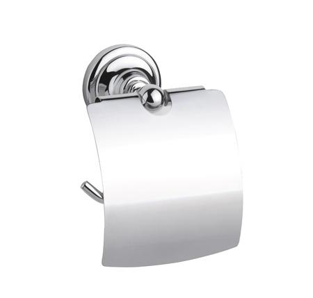 Metallic chrome tissue paper holder isolates on white Stock Photo - 16971785