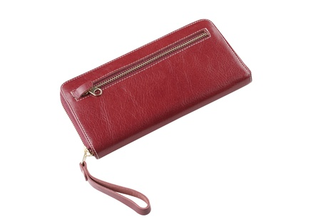Beautiful woman wallet genuine leather made isolated photo