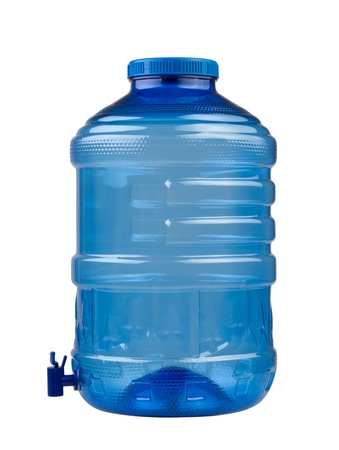 gallon: Empty blue drinking water container isolated on white background  Stock Photo