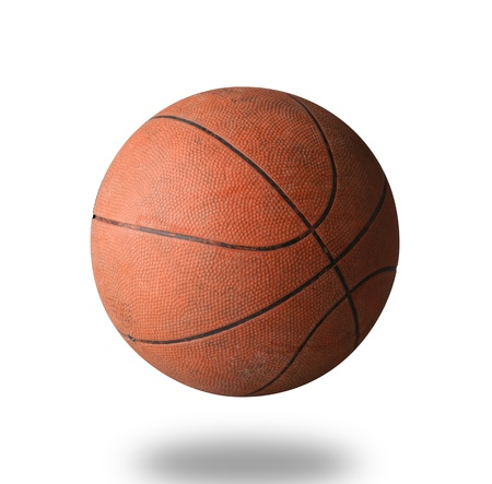 nba: Old basketball the world favorite sport isolated on white background  Stock Photo
