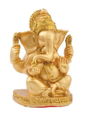 religious culture: Golden Ganesh isolate on white background