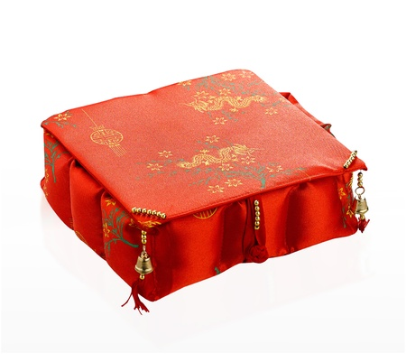 red gift box: Cute and lovely red gift box for someone in Chinese new year festival isolated on white