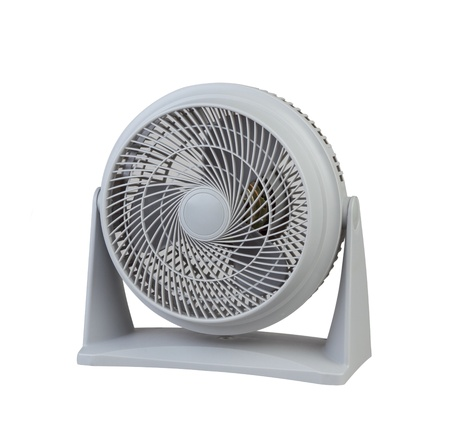 Gray portable electric windy fan isolated on white background