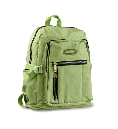 necessary: Green backpack for loading your necessary stuffs Stock Photo