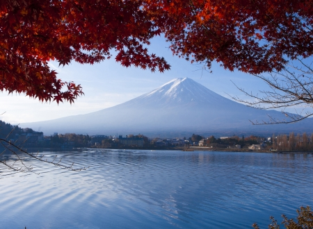 Mt Fuji or Fujiyama the landmark of Japan beautiful in autumn  photo