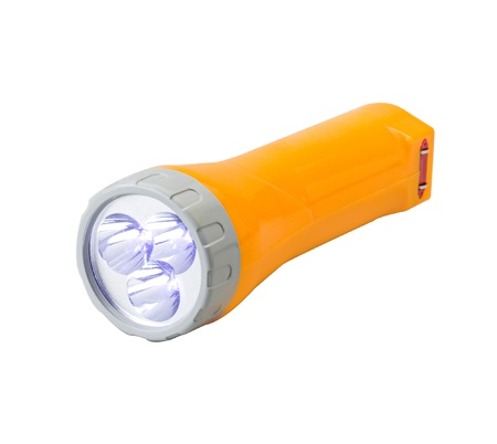 Emergency flashlight isolated on white photo