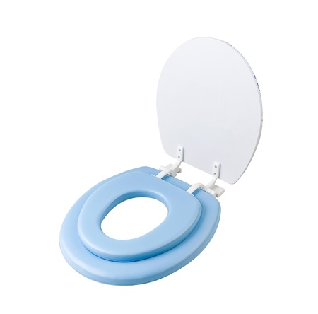 Movable adapter toilet bowl for kid isolated on white photo