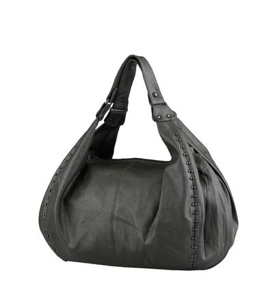 Genuine woman leather handbag isolated on white photo
