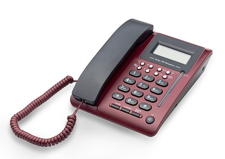 landlines: Digital display home and office telephone isolated  Stock Photo