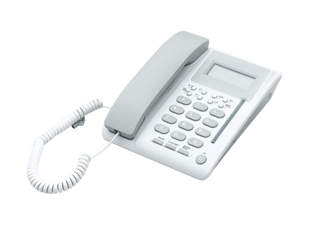 landlines: Office telephone isolated on white background